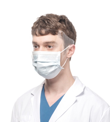 MAN WEARING MASK WITH INTEGRATED VISOR